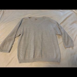 Gray, knit sweater, 3 quarter length sleeves